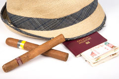 Cuban cigar and hat. Cuban cigars and hat on white stock photos