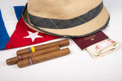 Cuban cigar and hat Stock Photography