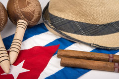 Cuban cigar and hat Stock Images