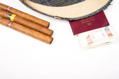 Cuban cigar and hat. Cuban cigars and hat on white Royalty Free Stock Photography