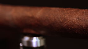 Cuban cigar and lighter stock video footage