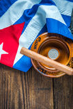 Cuban cigar and national flag. From above on wooden table Royalty Free Stock Images