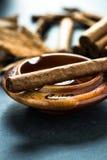 Cuban cigar in wooden ash tray Royalty Free Stock Photo