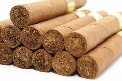 Cuban cigars. On a white background Royalty Free Stock Images