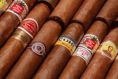 Cuban cigars. Ciudad de Mexico, Mexico - August 1, 2015: Cuban Cigars. All cigar production in Cuba is controlled by the Cuban government, and each brand may be royalty free stock images