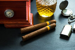 Cuban cigars with cognac and humidor Stock Image