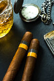 Cuban cigars with cognac and humidor Stock Photo