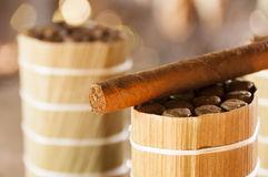 Cuban cigars in drying house Royalty Free Stock Images