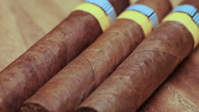 The Cuban cigars, hand made. Close up stock video footage