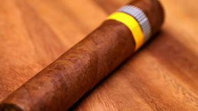 The Cuban cigars, hand made. Close up in a sunny day stock video footage