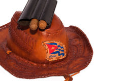 Cuban cigars with hat Royalty Free Stock Images