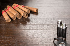 Cuban cigars loose on table Royalty Free Stock Image