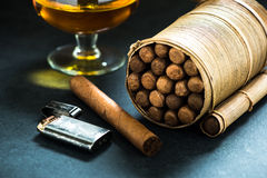 Cuban cigars in natural leafs crafted humidor Stock Photos