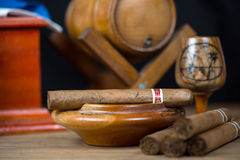Cuban cigars related items Royalty Free Stock Image