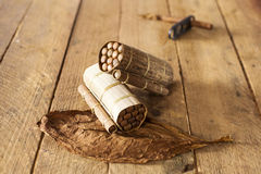 Cuban cigars in traditional artisan palm leafs box, Cuba Royalty Free Stock Image