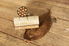Cuban cigars in traditional artisan palm leafs box, Cuba Royalty Free Stock Photo