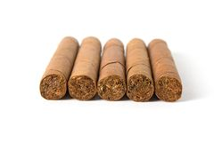 Cuban cigars. On white background Royalty Free Stock Images