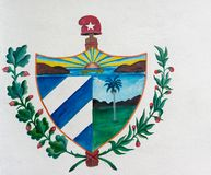 Cuban Coat of Arms Painted on Street Wall Stock Images