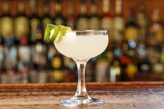 Cuban cocktail Daiquiri. Cooling sweet and sour cocktail with rum, lime juice and sugar. Space for text stock photo