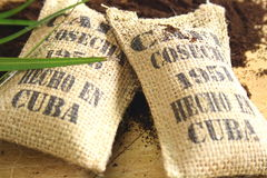 Cuban coffee sacks Stock Image