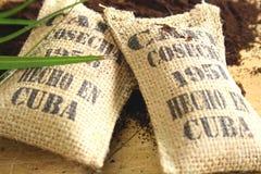 Cuban coffee sacks stock image