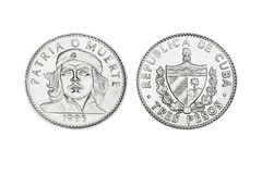 Cuban coins of three pesos with the face of  Che Royalty Free Stock Photo