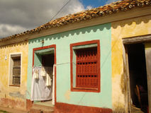 Cuban colorful houses. Colorful houses in a Cuban town stock photos