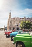 Cuban colorful vintage cars in front of the Gran Teatro - Havana, Cuba stock images