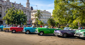 Cuban colorful vintage cars in front of the Gran Teatro - Havana, Cuba Royalty Free Stock Photos