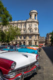 Cuban colorful vintage cars in front of National Museum of Fine Arts - Havana, Cuba. Cuban colorful vintage cars in front of National Museum of Fine Arts in stock images