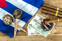 Cuban concept table of some related items Royalty Free Stock Photos