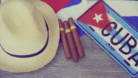 Cuban concept table of some related items stock video