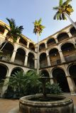 Cuban court yard and fountain in Old Havana Royalty Free Stock Photo