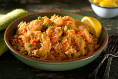 Cuban Cuisine - Arroz con Mariscos. A bowl of delicious cuban Arroz con Mariscos - rice with seafood Stock Image