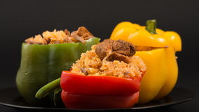 Cuban Cuisine: Bell Peppers Stuffed with Yellow Rice Royalty Free Stock Images