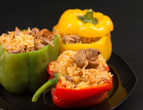 Cuban Cuisine: Bell Peppers Stuffed with Yellow Rice Stock Photo
