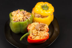 Cuban Cuisine: Bell Peppers Stuffed with Yellow Rice Royalty Free Stock Photos