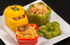 Cuban Cuisine: Bell Peppers Stuffed with Yellow Rice Royalty Free Stock Photo