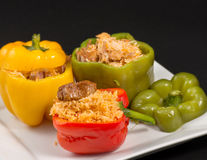 Cuban Cuisine: Bell Peppers Stuffed with Yellow Rice Royalty Free Stock Photography