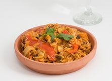 Cuban Cuisine Paella Style over white background stock photo