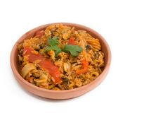 Cuban Cuisine Paella Style over white background Royalty Free Stock Images