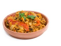 Cuban Cuisine Paella Style over white background Stock Images