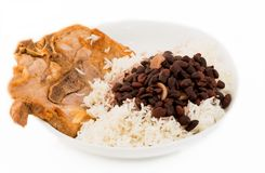 Cuban Cuisine: Pork, rice and black beans soup Stock Photography