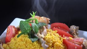 Cuban Cuisine: Rice with Chicken or Arroz con Pollo stock video