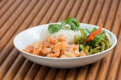 Cuban Cuisine Shrimp Plate or Dish over wooden surface stock image