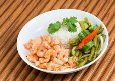 Cuban Cuisine Shrimp Plate or Dish over wooden surface royalty free stock image