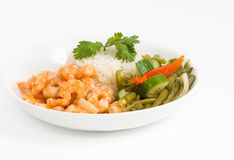 Cuban Cuisine Style Shrimp Plate or Dish Stock Images