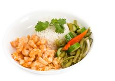 Cuban Cuisine Style Shrimp Plate or Dish Stock Photography
