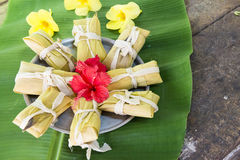 Cuban cuisine: traditional homemade tamales Royalty Free Stock Image