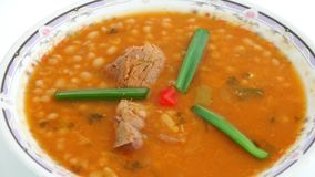 Cuban Cuisine: White Beans Soup over white background stock video